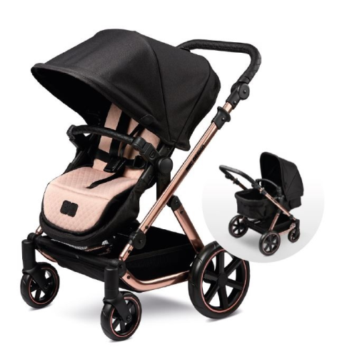 abc design dolls pram Rose gold and black mini salsa