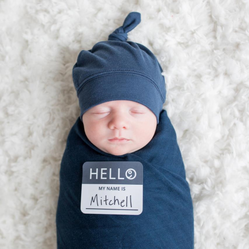 Baby boy bamboo hat and swaddle set navy