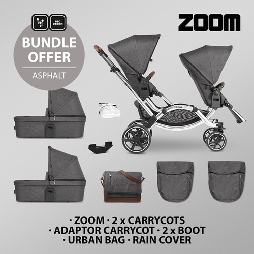 ABC Design zoom twin savings bundle 2 seat units and 2 carrycots