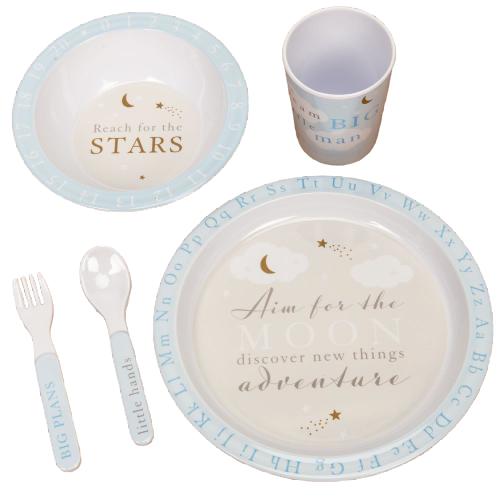Bambino Baby Boys Melamine Reach for the Stars Tableware Set