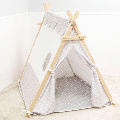 Bambino White & Grey Canvas Tent + Base Mat