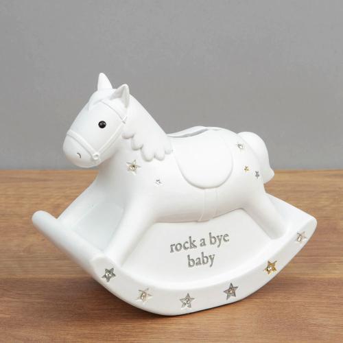 Bambino White Rocking Horse Money Box