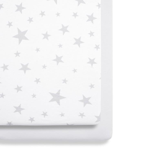 SnuzPod 3 Grey Stars Crib Sheets Twin Pack