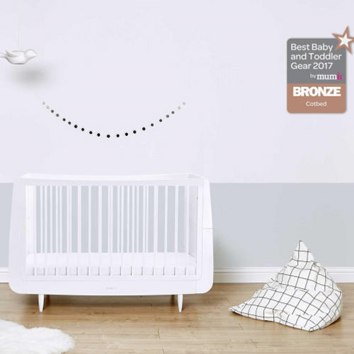 SnuzKot Skandi Cot Bed White - Suitable from Birth to 4 Years