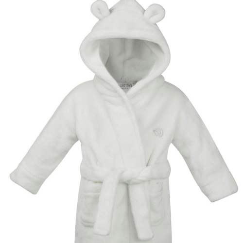 Baby dressing gown white