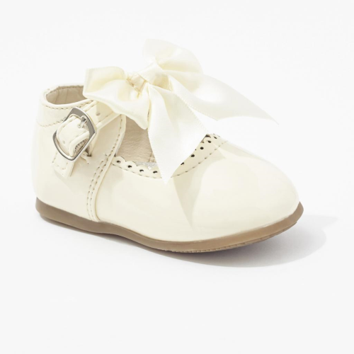 Cream Baby Girls Bow Shoes