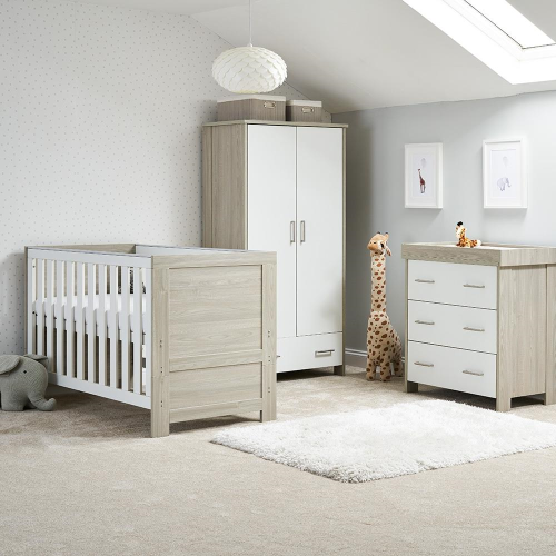 obaby nika 3 piece room set in grey wash with white