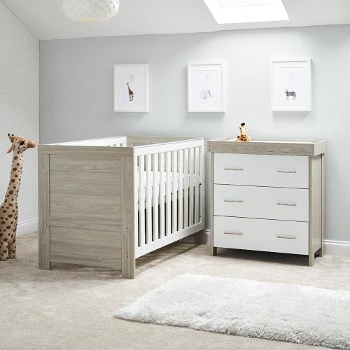 obaby nika 2 piece room set grey wash with white