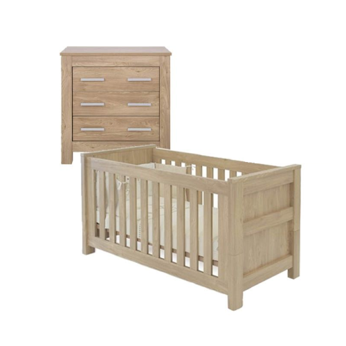 BabyStyle Bordeaux 2 Piece Nursery Furniture Room Set + Free Sprung Mattress