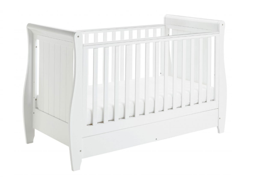 babymore stella white cot bed