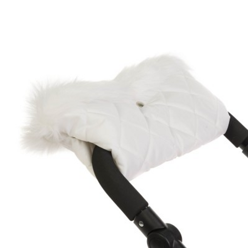 Dolls Pram Hand Muff in White faux Fur