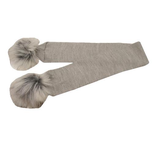 Unisex Baby Grey Faux Fur Pom Pom Scarf