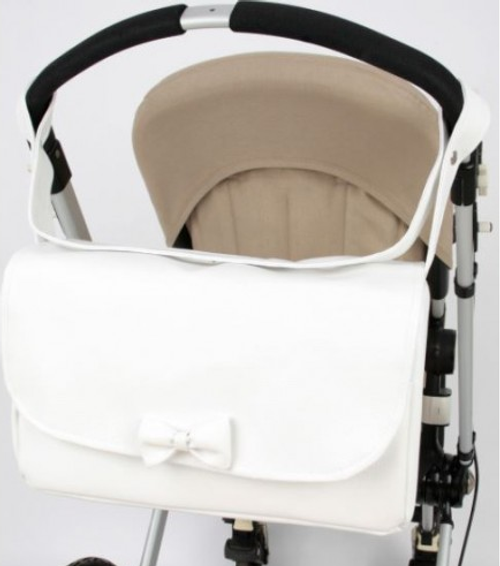 Spanish Style White Leatherette Changing Bag