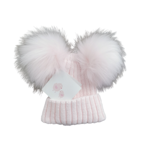 Baby Girls Soft Pink Double Pom Pom Hat