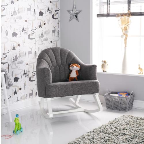 OBaby Round Back Nursery Rocking Chair in Grey