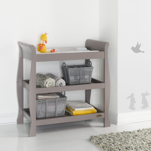 OBaby Stamford Sleigh Open Changing Unit in Taupe Grey