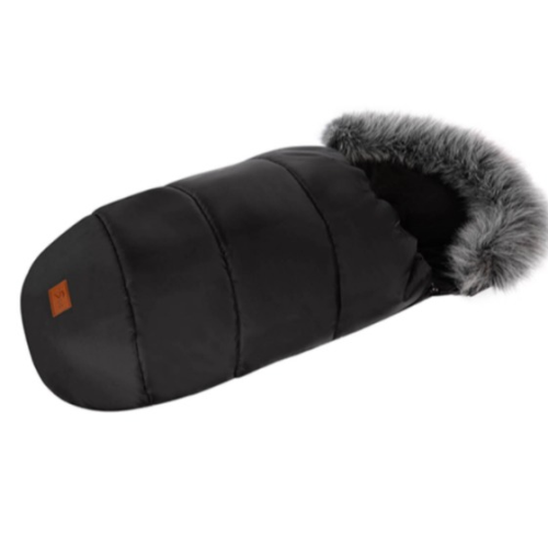 niversal Baby Sleeping Bag Pushchair Footmuff & Liner Black inside & Black Faux Fur