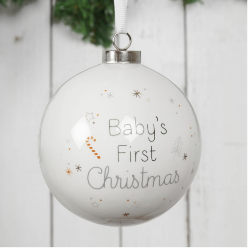 Baby's First Christmas White Ceramic Bauble in Box