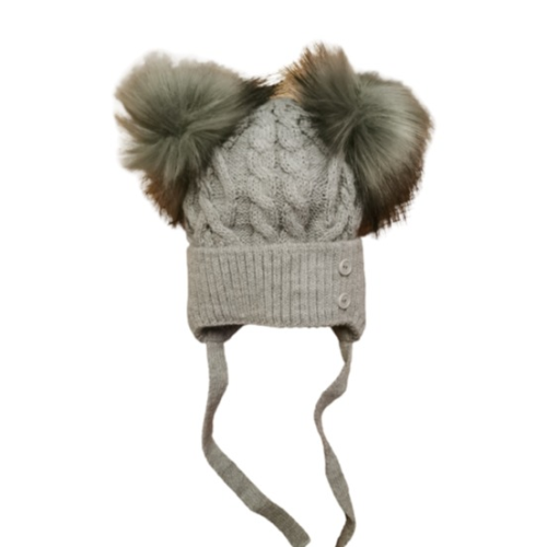 Grey Faux Fur 2 Pom Pom hat with Cable knit and Ties