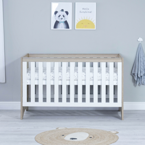 Babymore Veni Oak White Cot Bed - Modern Cot Bed - Free UK Shipping