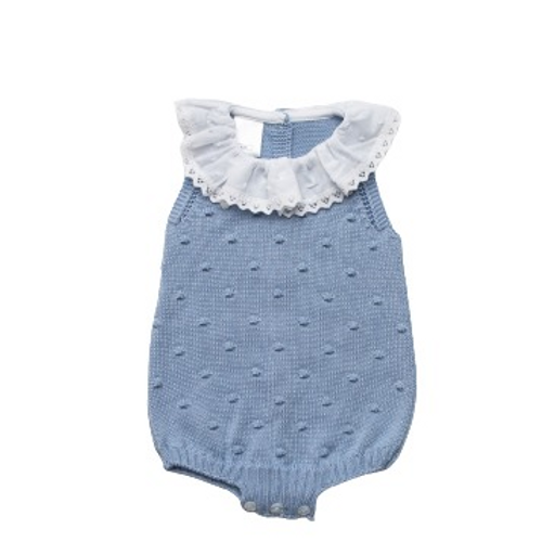 Juliana 2021 Blue Knitted Frill Collar Romper