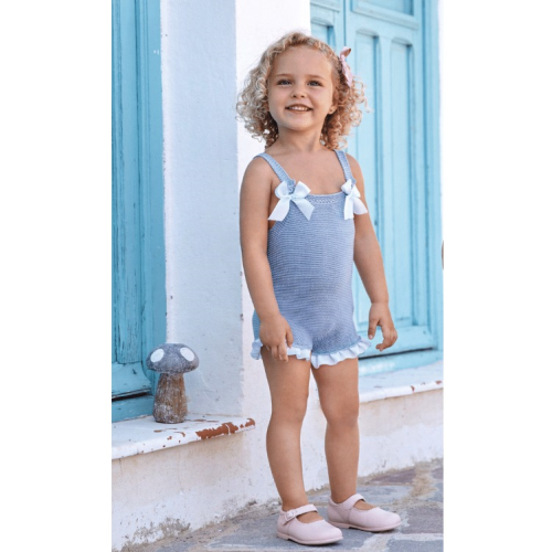 Juliana 2021 Baby Girls Knitted Dungarees in Blue