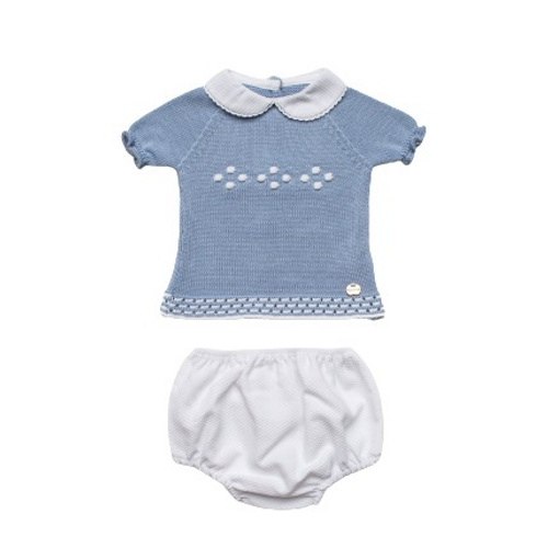 Juliana 2021 Baby Boys White and Blue 2 Piece Knitted Set