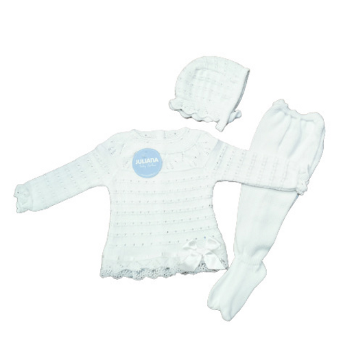 Juliana 2021 Knitted Baby Unisex Ivory 3 Piece Set