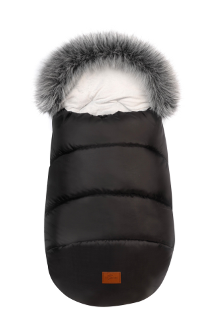 Black Pram Footmuff universal fit faux fur trim