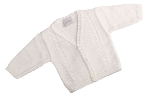 Baby Boys Portuguese Knitted Cardigan in White