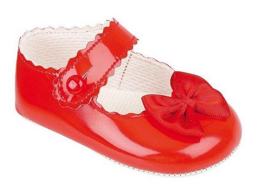 Baby Girls Red Baypod Soft Soled Pram Shoes