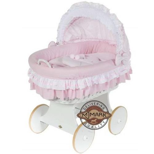 MJ Marks Luna White Wicker Crib with Pink Bedding