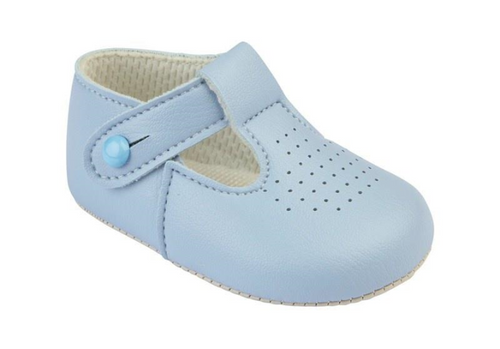 Baypod Baby Blue T Bar soft soled leather shoes