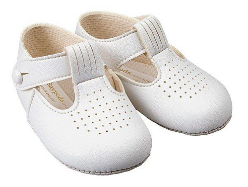 Baypod Baby White T Bar soft soled leather shoes