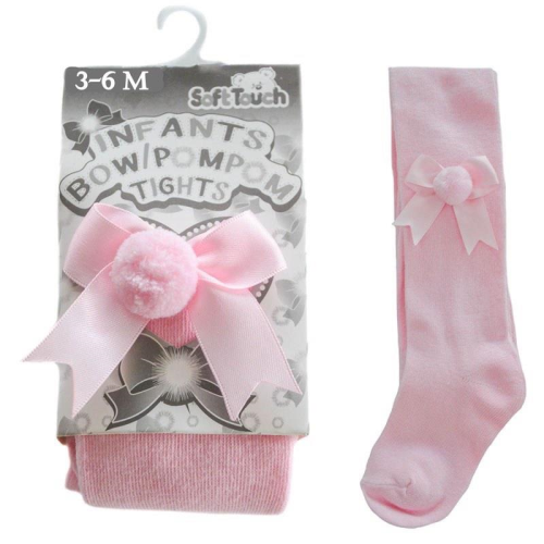 Bow and Pom Pom Baby Tights Pink