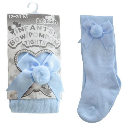 baby Bow and Pom Pom Baby Tights Blue