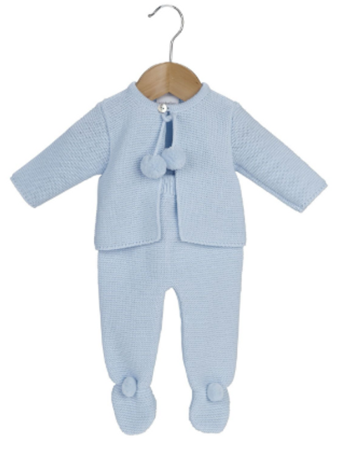Dandelion Clothing Baby knitted pom set in blue