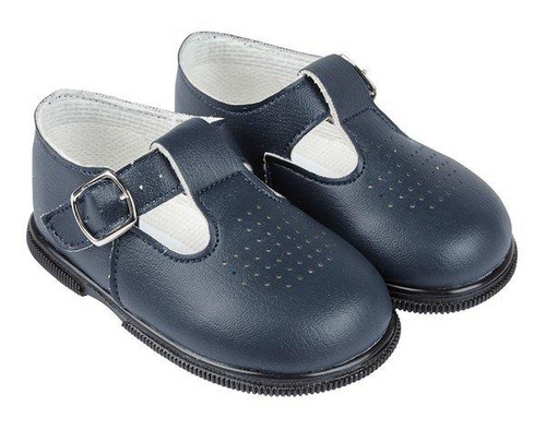 Hard soled baypod navy matt finish T bar shoes