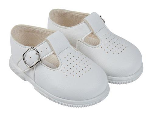 Hard soled baypod white matt finish T bar shoes