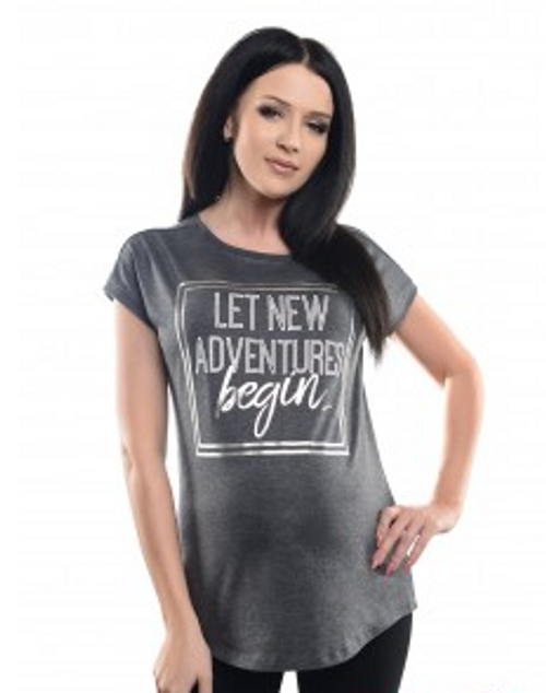 Maternity short sleeved t-shirt Grey