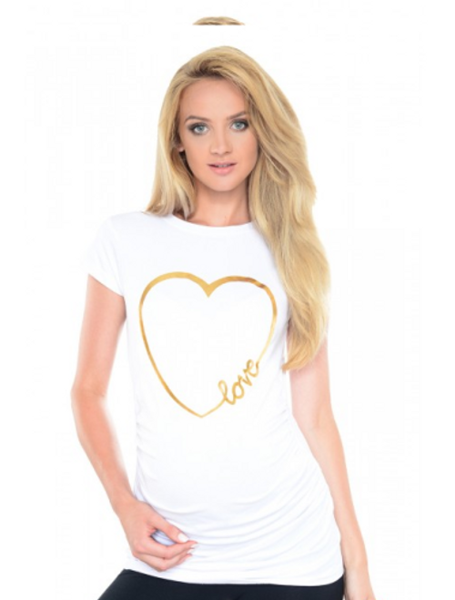 white maternity t-shirt gold foil heart