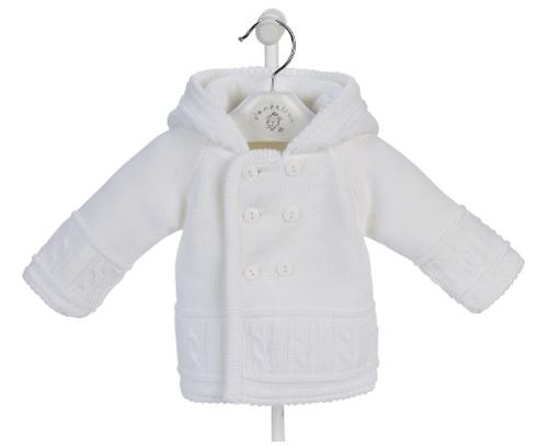unisex baby jacket knitted white