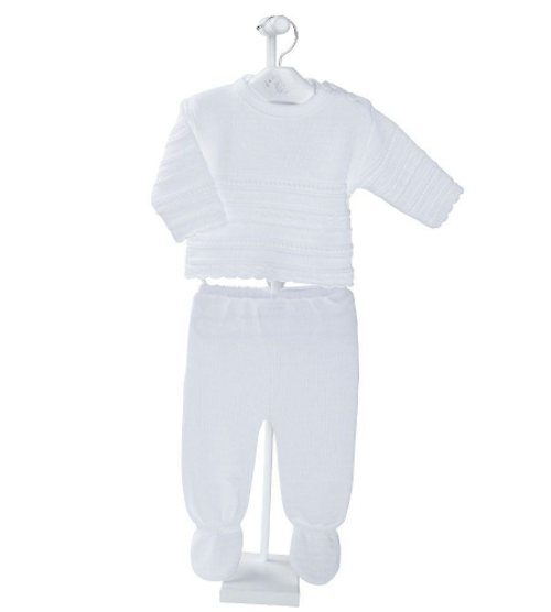 White Knitted Baby 2 Piece Set