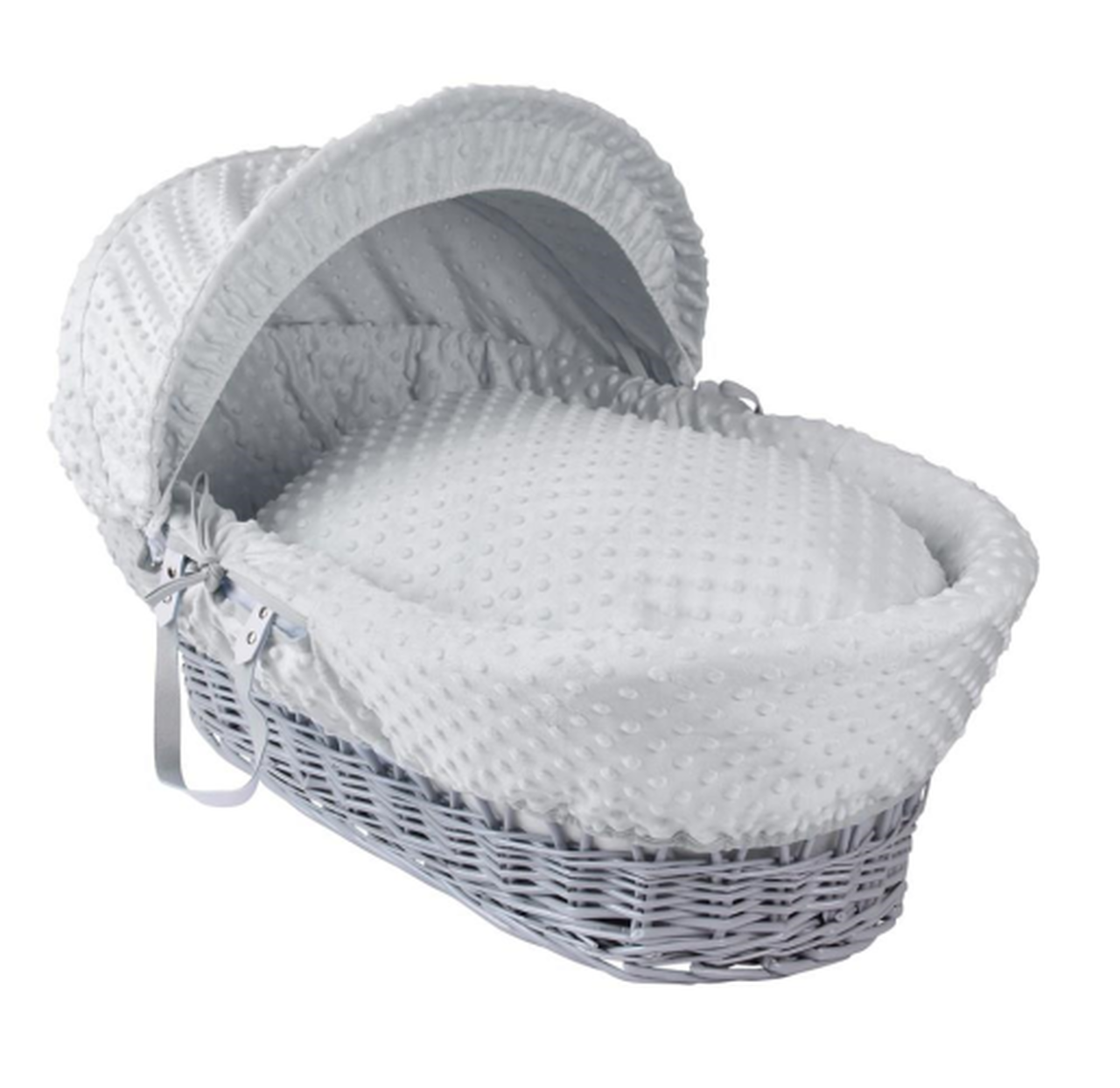 grey wicker moses basket white bedding