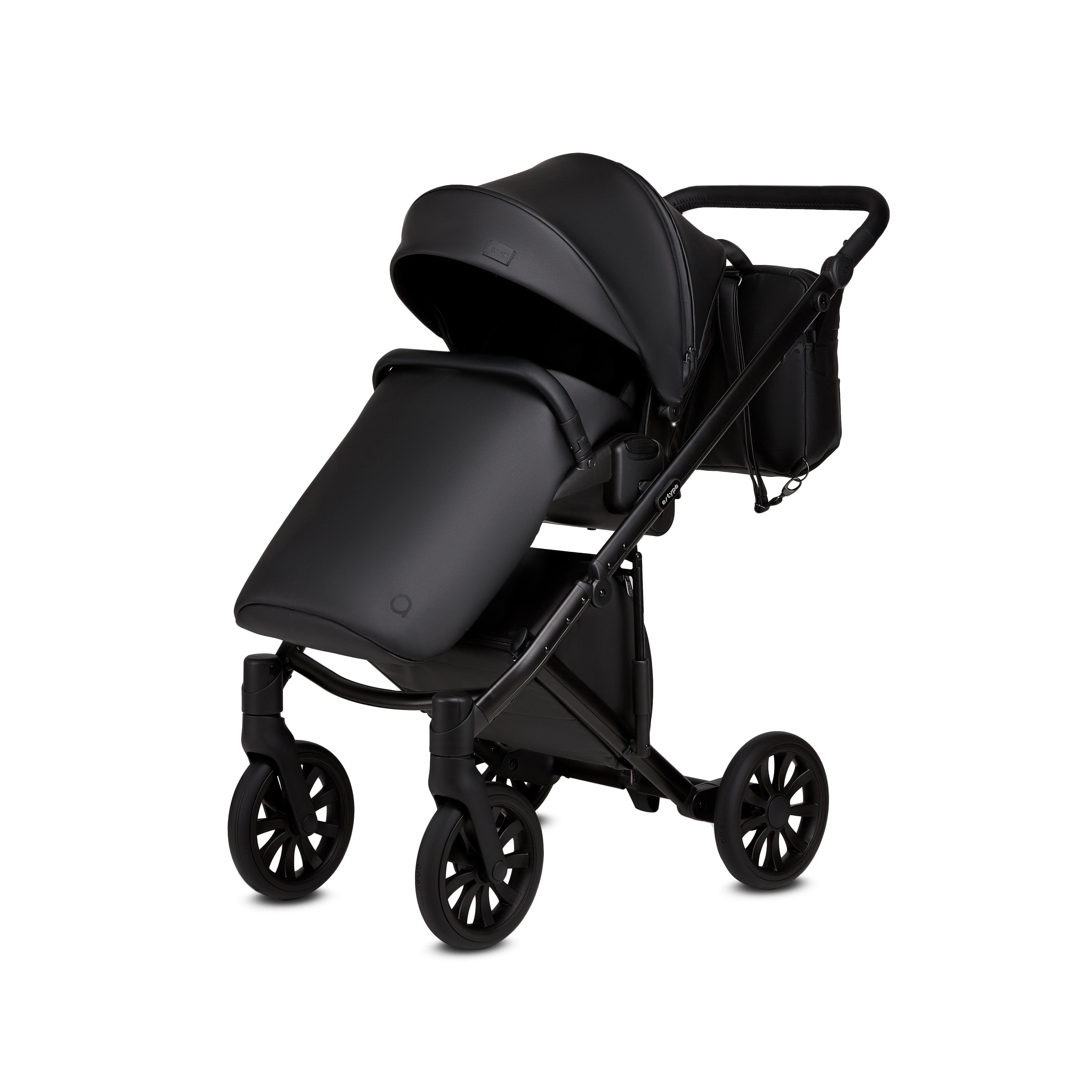 anex baby e type noir black eco leather stroller
