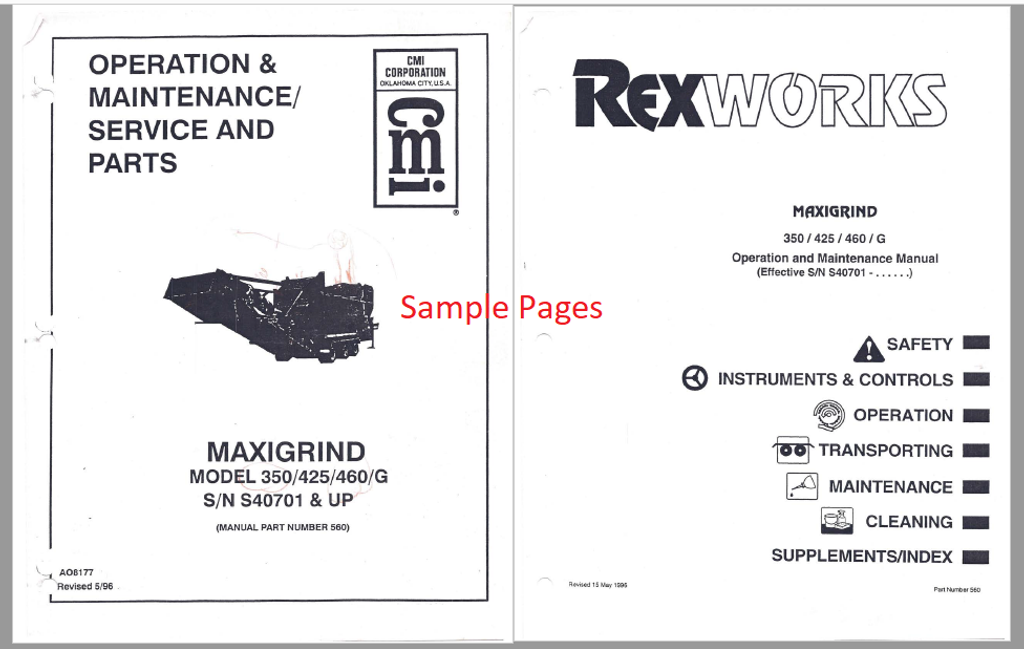 Maxigrind 425/460 Manual (Norkot, Rexworks, CMI) DIGITAL COPY