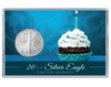 Birthday Silver Eagle Acrylic Display - Blue Cupcake