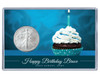 Birthday Silver Eagle Acrylic Display - Blue Cupcake - customized