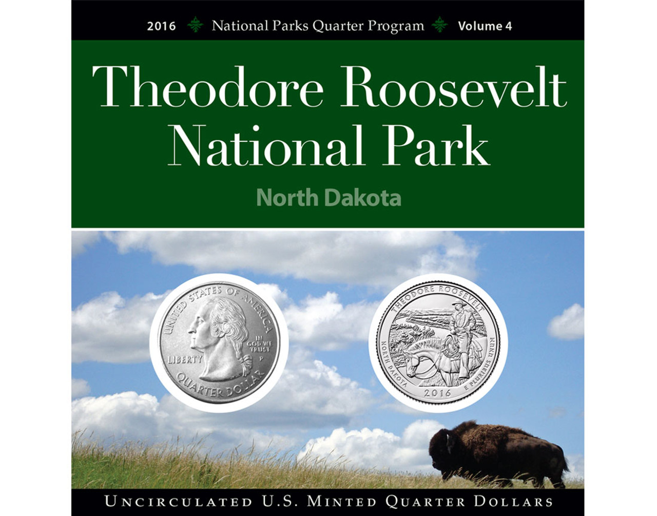 ND QUARTER UNCIRCULATED 2016-D THEODORE ROOSEVELT NATIONAL PARK