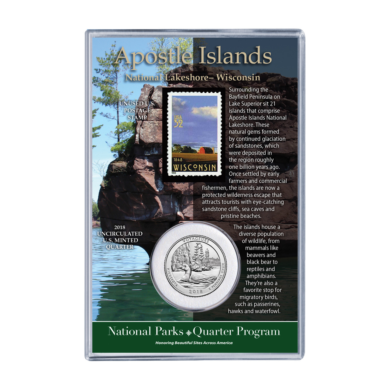 2018 Wisconsin Apostle Islands Coin Stamp Set